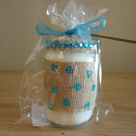 ROCK SALT & DRIFT WOOD - SOY CANDLE - HESSIAN AND TURQUOISE GLASS JAR.