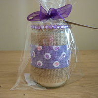 ROCK SALT & DRIFT WOOD - SOY CANDLE - HESSIAN & SHADES OF LILAC GLASS JAR CANDLE