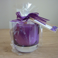 BLACK POMEGRANATE - SCENTED SOY CANDLE - PURPLE GLASS CANDLE HOLDER.