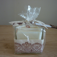 COCOA & PATCHOULI - SCENTED SOY CANDLE - GLASS JAR WITH WIDE COTTON RIBBON.