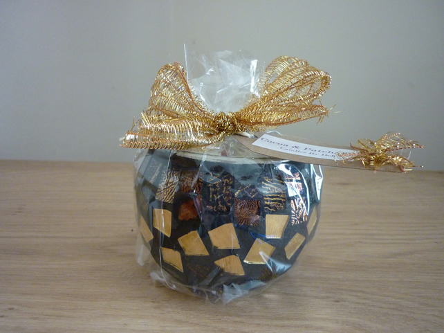 COCOA & PATCHOULI - SCENTED SOY CANDLE - BROWN & GOLD MOSAIC GLASS CANDLE HOLDER