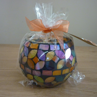 COCOA & PATCHOULI - SCENTED SOY CANDLE - MULTI COLOURED MOSAIC CANDLE HOLDER.
