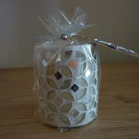 SWEET KISSES - SOY CANDLE - TALL SILVER DIAMOND MOSAIC CANDLE.