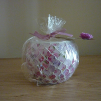PEONY - SCENTED SOY CANDLE - FLORAL MOSAIC GLASS CANDLE HOLDER AND CANDLE.