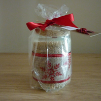 PROSECCO - SCENTED SOY CANDLE - CHRISTMAS DECORATED RECYCLED GLASS JAR CANDLE.