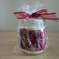 ORANGE & CHILI - SOY CANDLE - BURGUNDY & GOLD RECYCLED GLASS JAR CANDLE.