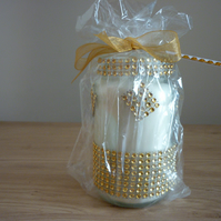 BLACK POMEGRANATE - SOY CANDLE - GOLD RHINESTONE RECYCLED JAR CANDLE.