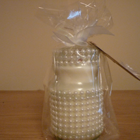 FAIRY DUST - RECYCLED GLASS JAR WITH PEARLS - SOY SCENTED CANDLE.