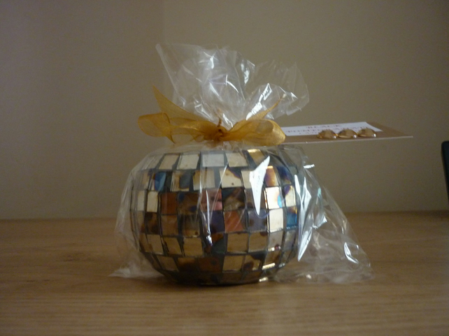 COCOA & PATCHOULI - SCENTED SOY CANDLE - SHADES OF GOLD SQUARE MOSAIC CANDLE.
