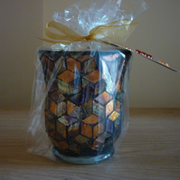DAMSON PLUM, ROSE & PATCHOULI - SOY CANDLE - BRONZE,COPPER & GOLD MOSAIC CANDLE.