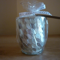 ENGLISH LAVENDER & SEA MINERALS - SOY CANDLE - MOTHER OF PEARL CANDLE HOLDER.
