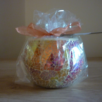 BLACK POMEGRANATE - HANDMADE SOY CANDLE - MULTI COLOURED LUSTER CANDLE HOLDER.