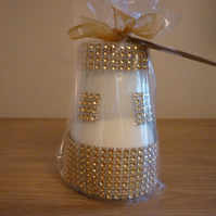 PEONY - SOY CANDLE - GOLD RHINESTONE RECYCLED JAR CANDLE.