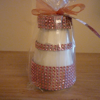 PEONY - SOY CANDLE - COPPER RHINESTONE RECYCLED JAR CANDLE.