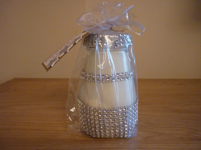 DAMSON PLUM ROSE & PATCHOULI - SOY CANDLE- SILVER RHINESTONE RECYCLED JAR CANDLE