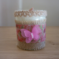 DAMSON PLUM, ROSE & PATCHOULI - SOY CANDLE- HESSIAN, RIBBON AND BUTTERFLY CANDLE