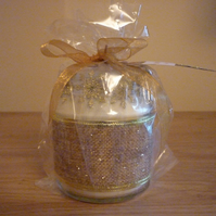 FAIRY DUST - SOY CANDLE - HESSIAN WITH GOLD SPOTS AND STARS.