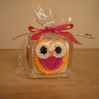 FAIRY DUST - SCENTED SOY CANDLE - SQUARE GLASS JAR WITH CROCHET OWL DECORATION.