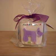 WHITE SPARKLE - SCENTED SOY CANDLE - SCOTTIE DOGS GLASS CUBE SOY CANDLE.