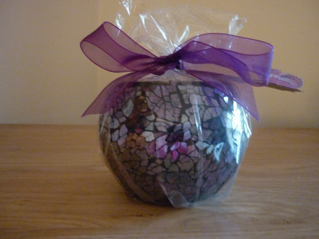 APPLE CANDY - SCENTED SOY CANDLE - PURPLE AND BLACK MOSAIC LUSTER CANDLE.