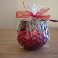 SWEET BERRIES - SCENTED SOY CANDLE - RED CASABLANCA STYLE CANDLE HOLDER.