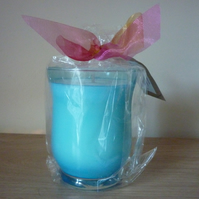 PLUM & BRAMBLE BERRY - SCENTED SOY CANDLE - TURQUOISE HURRICANE GLASS CONTAINER.