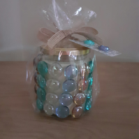 PANDORA'S BOX SCENTED SOY CANDLE - MEDIUM GLASS JAR WITH GLASS PEBBLES.