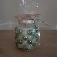 CHERRY BLOSSOM & PLUM - SCENTED SOY CANDLE - LARGE GLASS JAR WITH GLASS PEBBLES.