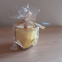 FRENCH PEAR & VANILLA - SOY CANDLE - GOLDEN YELLOW GLASS  HEXAGON CANDLE HOLDER.