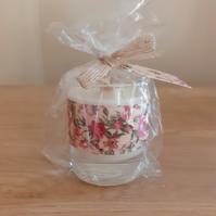 MIXED BERRIES & APPLE SPICE - SOY CANDLE - FLORAL RIBBON  DECORATED CANDLE.