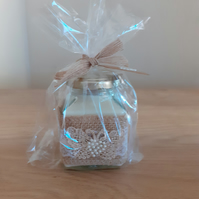 GIN & TONIC - SOY CANDLE - HESSIAN WITH LACE AND PEARLS SQUARE JAR CANDLE.