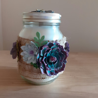 SPRING TIME - SCENTED SOY CANDLE - HESSIAN WITH LARGE FLOWERS.