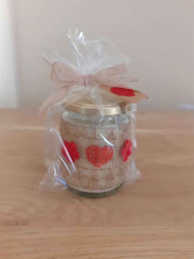 SPRING TIME - SCENTED SOY CANDLE - HESSIAN WITH RED CROCHET FLOWERS AND PEARLS.