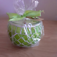 CEDARWOOD  & JASMINE - SCENTED SOY CANDLE - BRIGHT GREEN MOSAIC GLASS CANDLE.