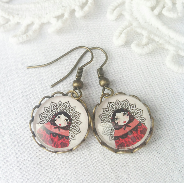 Russian Doll  Pendant Earrings