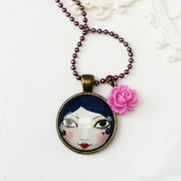 Purple Doll Face Pendant