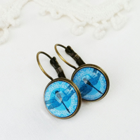 Blue Dragonfly Glass Earrings