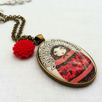 Russian Doll Necklace With Red Flower Charm
