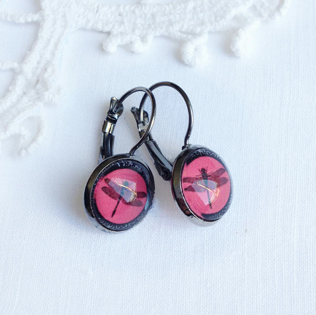 Vintage Style Red Dragonfly Earrings