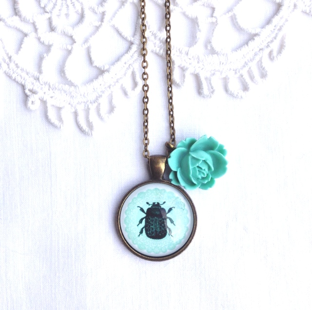 Turquoise Beetle Necklace With Rose Charm