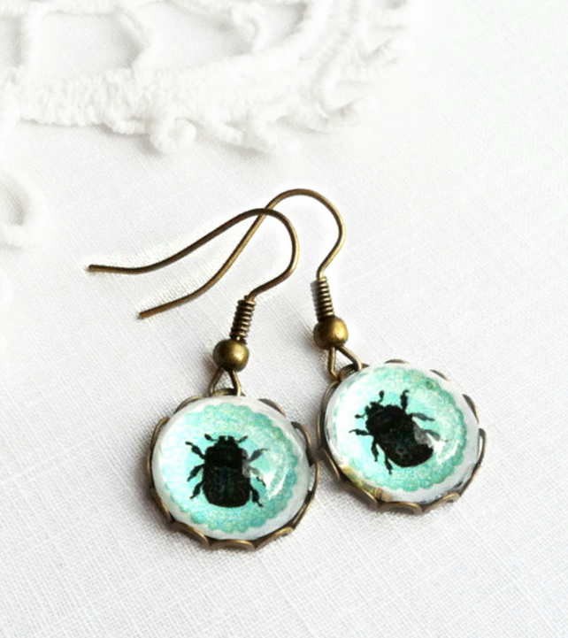 Vintage Style Turquoise Glass Beetle Earrings