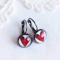 Vintage Style Ruby Red Love Heart Earrings