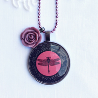 Red & Black Dragonfly Statement Necklace With Rose Charm