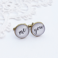 'You & Me' Antique Bronze Cufflinks