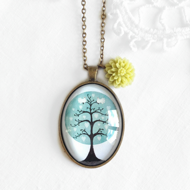 Vintage Style Turquoise Tree Necklace With Flower Charm