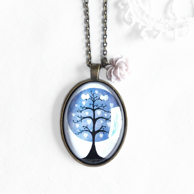 Vintage Style Purple Tree Necklace With Rose Charm