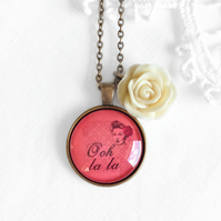 Vintage Style Ooh LaLa Necklace With Rose Charm