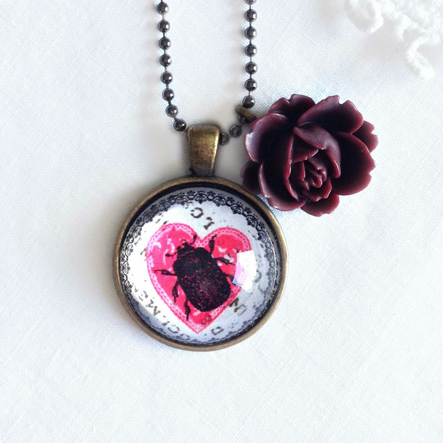 Beetle Necklace With Rose Charm