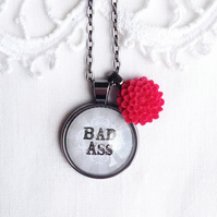 Vintage Style 'Bad Ass' Necklace with Flower Charm