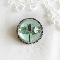 Soft Green Dragonfly Glass Brooch